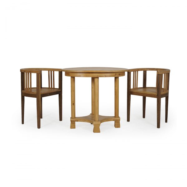 austrian antique table with 2 armchairs